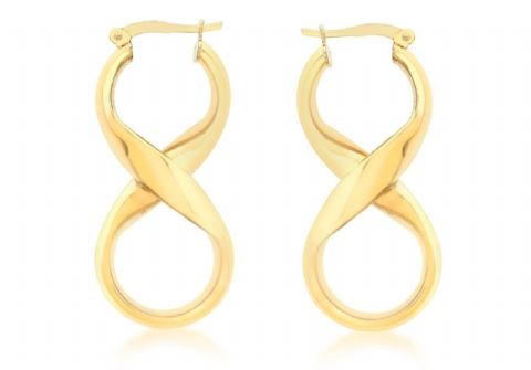9ct Yellow Gold Medium Infinity Figure of Eight Drop Hoop Earrings        0869